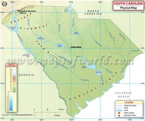 south carolina on usa map physical map of south carolina south carolina physical