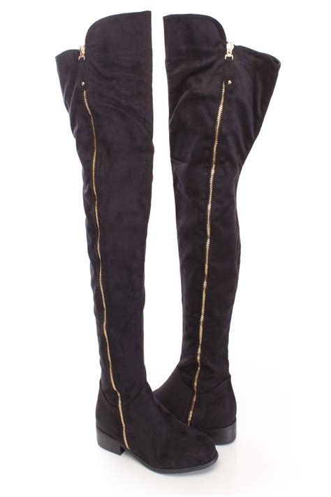 black thigh high zipper boots faux suede