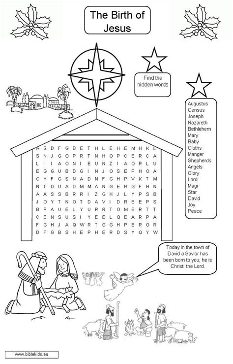The Birth Of Jesus Word Seach Coloring Pages The Birth Of Jesus To Color
