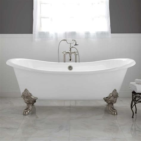 bathtub plumbing lena cast iron clawfoot double slipper tub with monarch