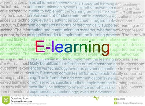 e learning thesis typed text e learning on paper royalty free stock image