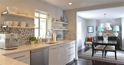 bungalow kitchen cabinets moderately priced metal mosaic andrea johnson design kitchens gray walls high gloss