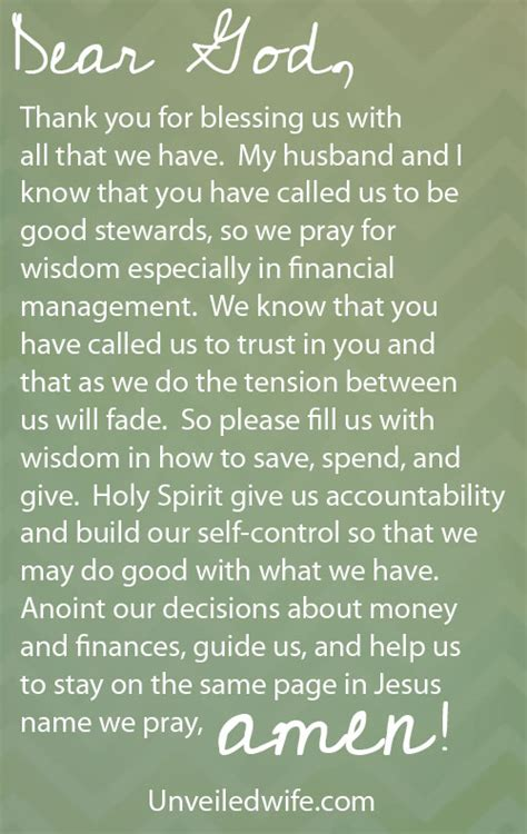 Financial Blessings Letter Prayer Of The Day Wisdom In Financial Management