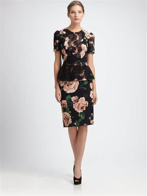 dolce gabbana floral pencil skirt lyst