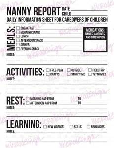 Nanny Log Sheet Templates by Nanny Report Daily Information Sheet For Caregivers By