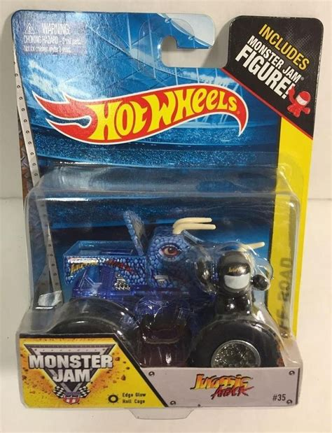 mattel monster jam trucks wheels jurassic attack edge glow roll cage 35 monster
