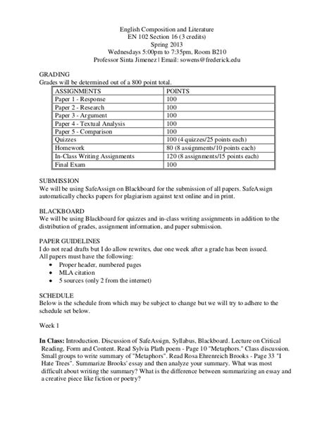 Literature And Composition Section 1 by 102 Syllabus 2013