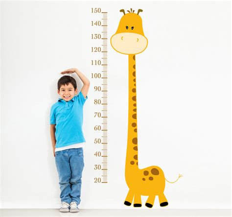 Large Childrens Wall Stickers yellow giraffe height chart kids sticker tenstickers