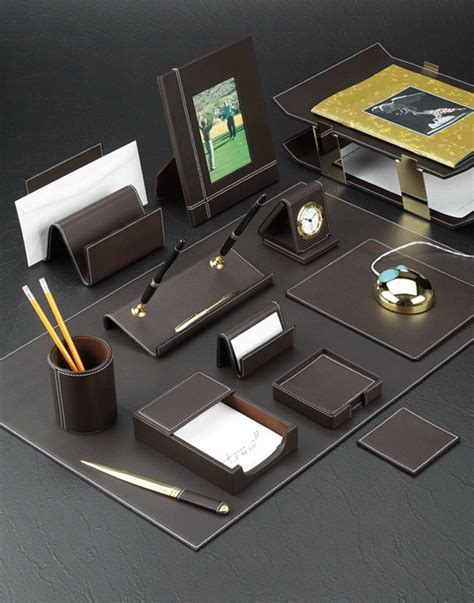 office desk accessories set brown leather conference room sets desk room sets