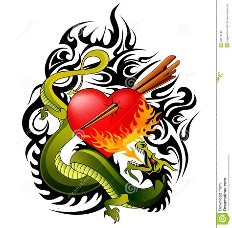 fire breathing dragon tattoo designs and design stock vector illustration