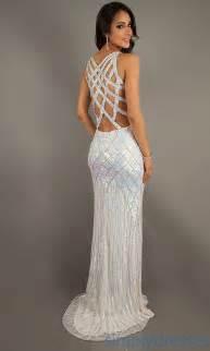 Long white sequin prom dress fancy dresses glitter prom dress mermaid