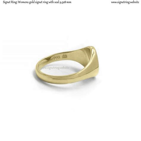 womens gold signet ring with seal 9 5x8 mm 0 35x0 31