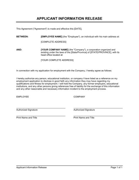 General Release Letter Employment Release Of Information Form Template Beepmunk