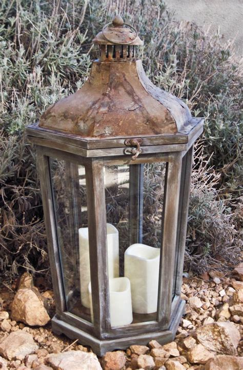 rustic shabby chic lantern distressed candle lantern large
