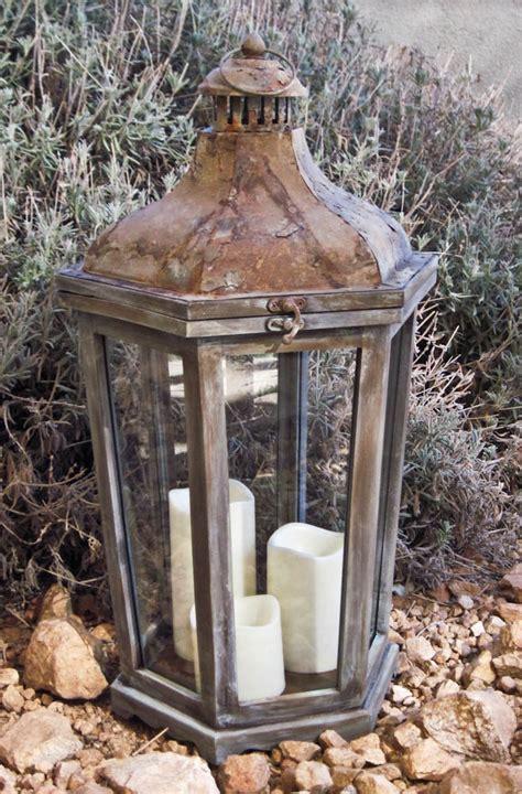 rustic shabby chic lantern distressed candle lantern large