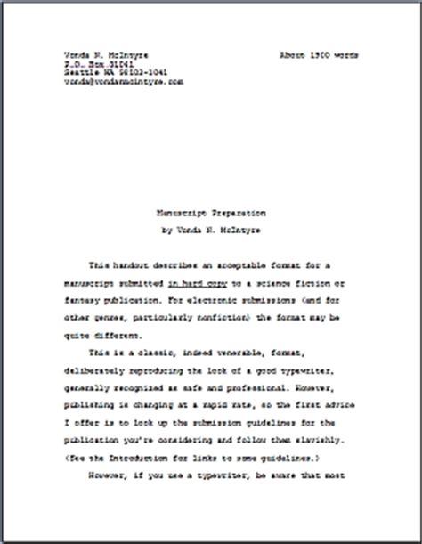 picture book manuscript exle manuscript preparation sfwa