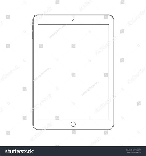 pattern drafting ipad outline drawing tablet similar ipad air stock vector