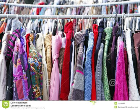 used clothes on rack royalty free stock photo image