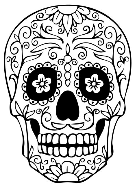 skull face coloring page sugar skull coloring pages getcoloringpages to print