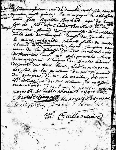 Montreal Marriage Records Yvonne S Genealogy 52 Ancestors 51 Antoinette Chouart