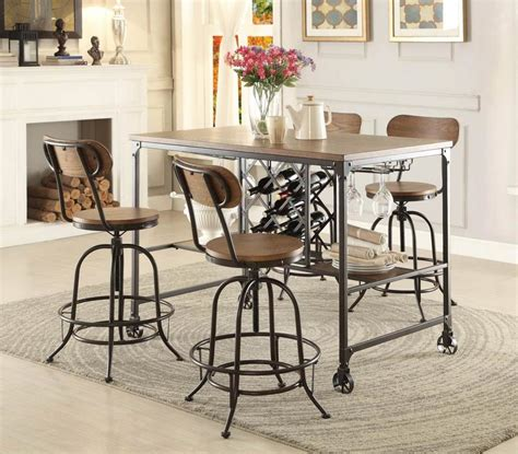 5429 36 industrial 5pc metal counter height dining table