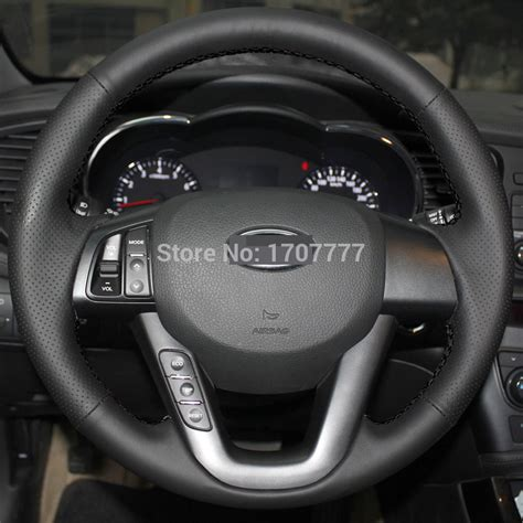 2013 Kia Optima Steering Problems Black Leather Stitched Car Steering Wheel Cover For