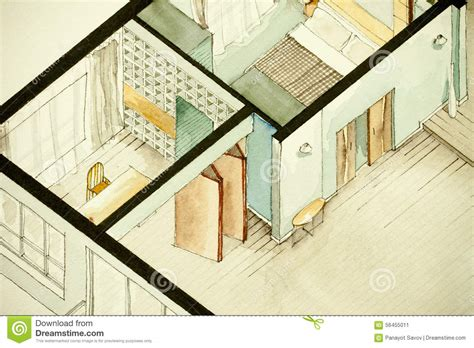 real estate watercolor 3d floor plan i on behance isometric partial architectural watercolor drawing of