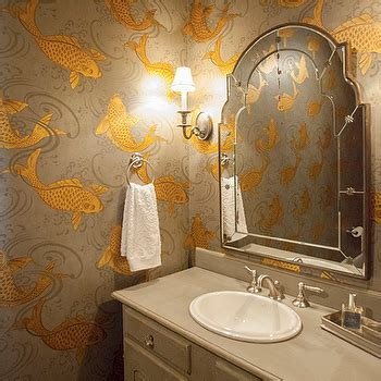 fish wallpaper bathroom koi fish wallpaper transitional bathroom veranda