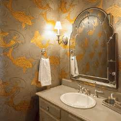 Bathroom Wallpaper Fish by Koi Fish Wallpaper Transitional Bathroom Veranda
