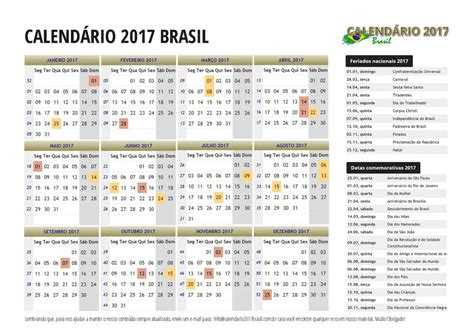 Calendario Festivo 2017 Calend 225 2017 Do Brasil Feriados Para Imprimir