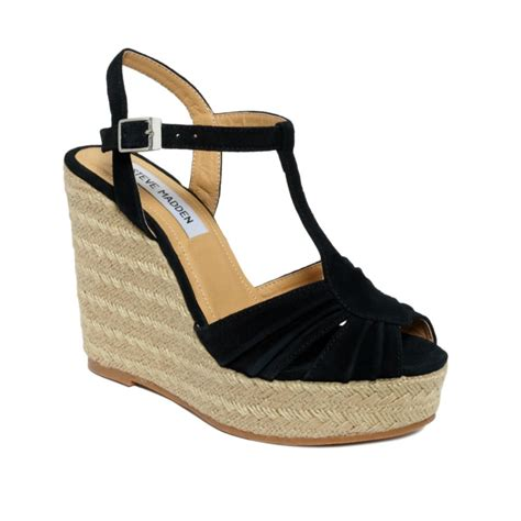 madden wedge sandals steve madden mammbow wedge sandals in black lyst