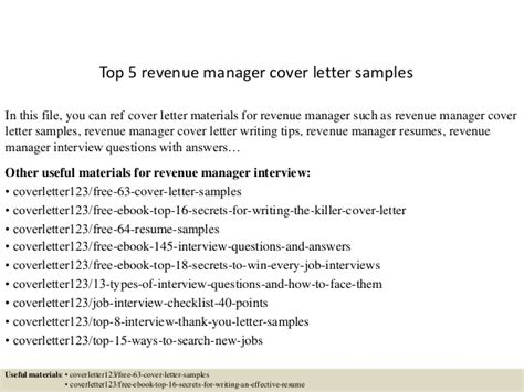 Revenue Officer Cover Letter by Top 5 Revenue Manager Cover Letter Sles