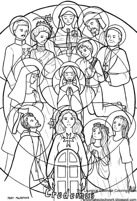 All Saints Day Coloring Pages snowflake clockwork november 2013