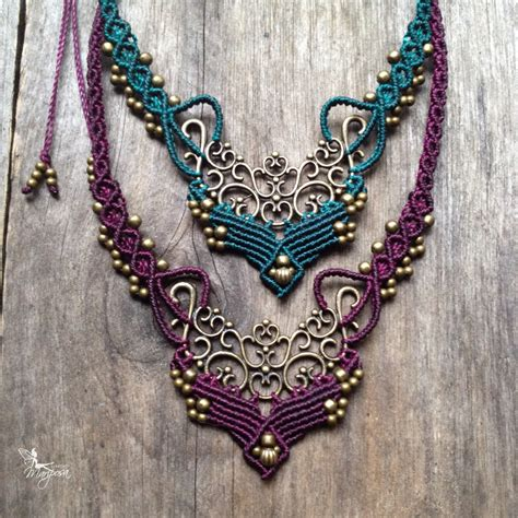 Macrame Bohemian Chic Elven Necklace Boho Jewelry By Creations