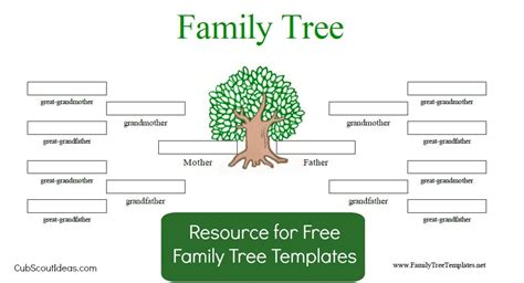 building a family tree free template free family tree template for cub scouts cub scout ideas