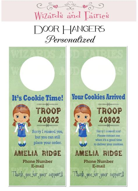 Girl Scout Cookie Sale Idea Personalized Door Hangers Increase Your Sales Coordinate Drop Scout Door Hanger Template