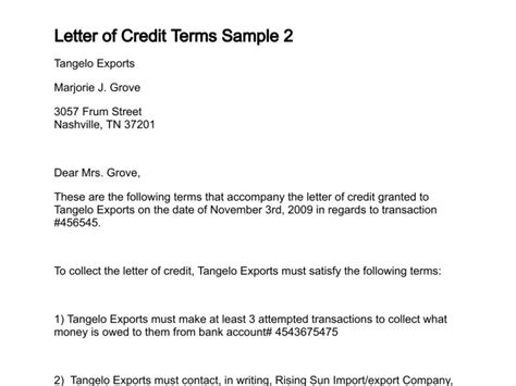 Letter Of Credit Contract Terms Letter Of Credit Terms