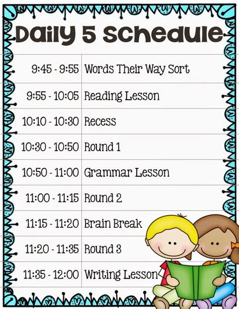 Second Grade Schedule Template Implementing The Daily 5 In Second Grade Our Daily Schedule Blog Posts By Core Inspiration
