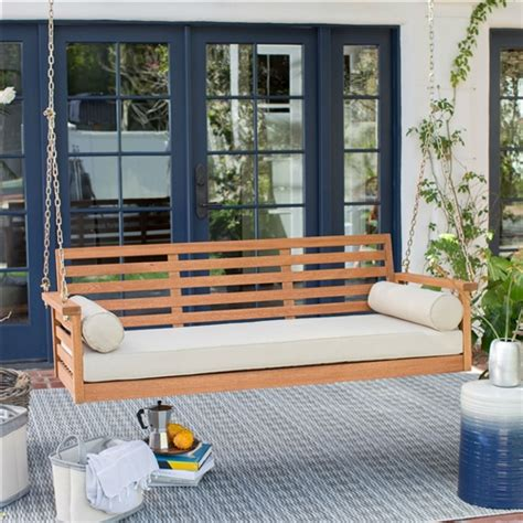 deep seat wood porch swing outdoor bed  cushion