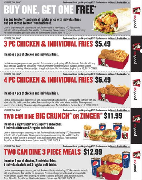 valid printable grocery coupons kfc coupons canada coupon codes blog