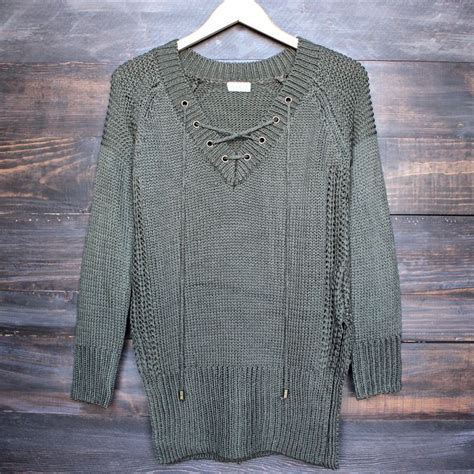 olive green knit sweater lace up knit sweater in olive green shops lace and olives