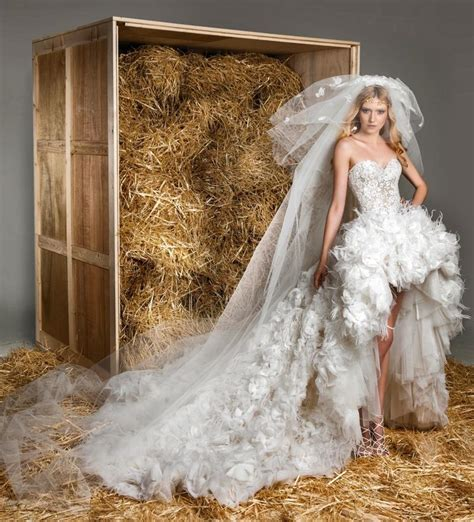 zuhair murad feather hi low wedding dresses front high
