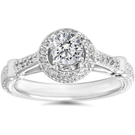 1 2ct vintage halo engagement ring 14k white gold