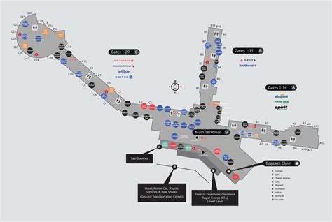 airport map cleveland airport terminal map cleveland airport