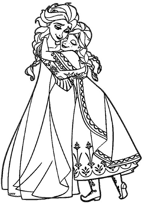 coloring page of elsa and anna elsa and anna coloring pages the sun flower pages