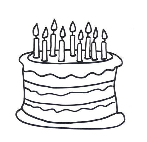 coloring happy birthday cakes candles pages birthday cake coloring page birthday cake without candles