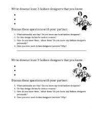 fashion design worksheets english worksheets fashion designers discussion