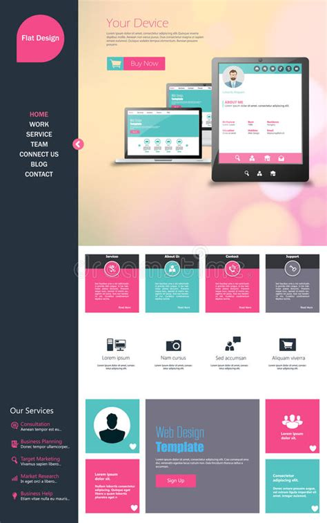 trendy templates flat one page website design template all in one set for
