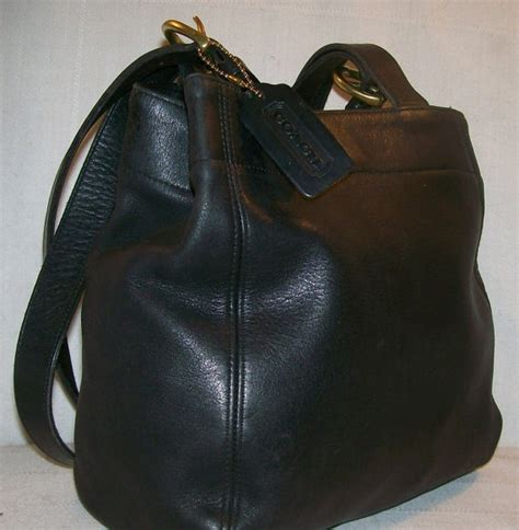 Coach Tote Black Leather Shoulder Bag coach black leather purse shoulder bag by davidsthriftshop