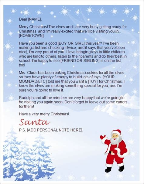 best free printable santa letters create a letter from santa letter of recommendation